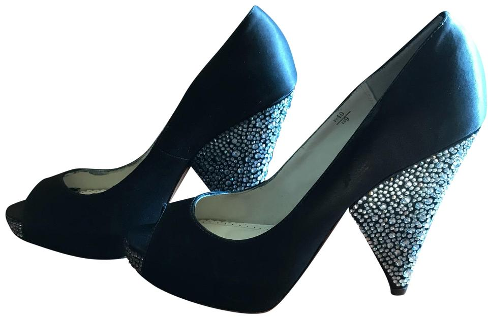 3df9e6bdd67f0 Benjamin Adams Black Rhinestone Wedges Platforms Size US 9 Regular ...