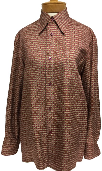 Preload https://img-static.tradesy.com/item/23690490/hermes-burgundy-gold-printed-long-sleeve-shirt-blouse-size-10-m-0-2-650-650.jpg