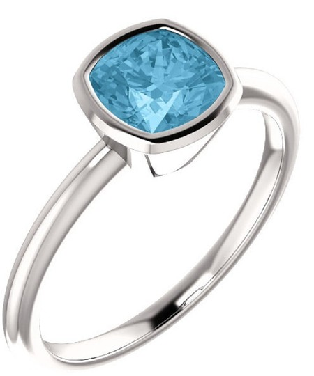 Apples of Gold BLUE ICE TOPAZ ANTIQUE-SQUARE BEZEL-SET RING IN STERLING SILVER Image 1