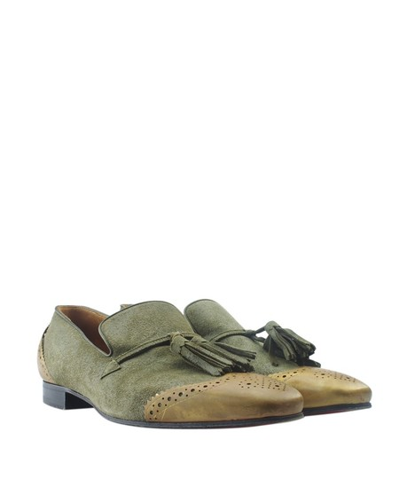Christian Louboutin Loafers Suede Green Flats Image 1