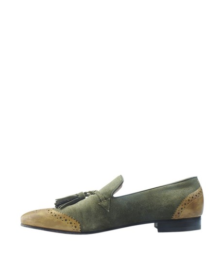 Christian Louboutin Loafers Suede Green Flats Image 3