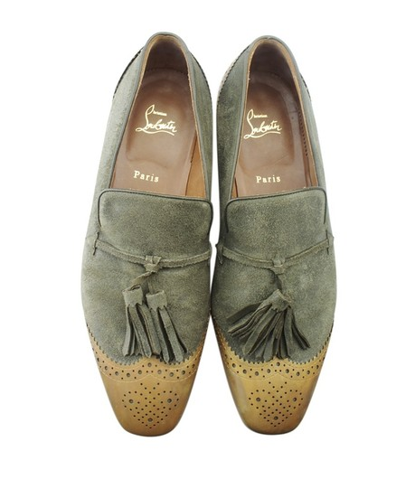 Christian Louboutin Loafers Suede Green Flats Image 4