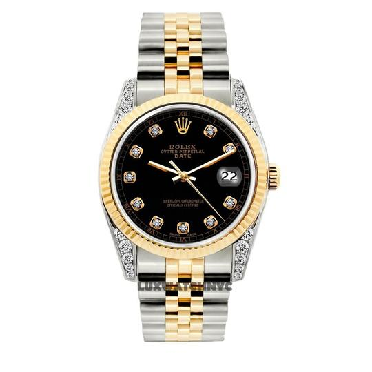 Preload https://img-static.tradesy.com/item/23690603/rolex-black-34mm-midsize-date-gold-stainless-steel-with-box-and-appraisal-watch-0-0-540-540.jpg