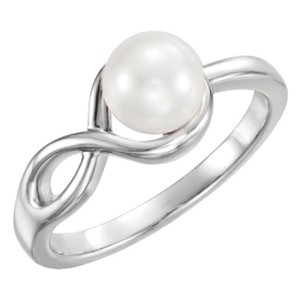 Apples of Gold INFINITY FRESHWATER PEARL RING IN 14K WHITE GOLD