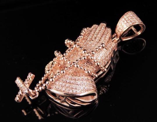 Jewelry Unlimited 10K Rose Gold Real Diamond Praying Hand Rosary Pendant 1.30 CT 2