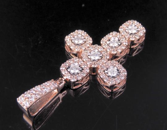 Jewelry Unlimited Men's 10K Rose Gold Diamond Square Cluster Cross Pendant 1.50 CT 1.75