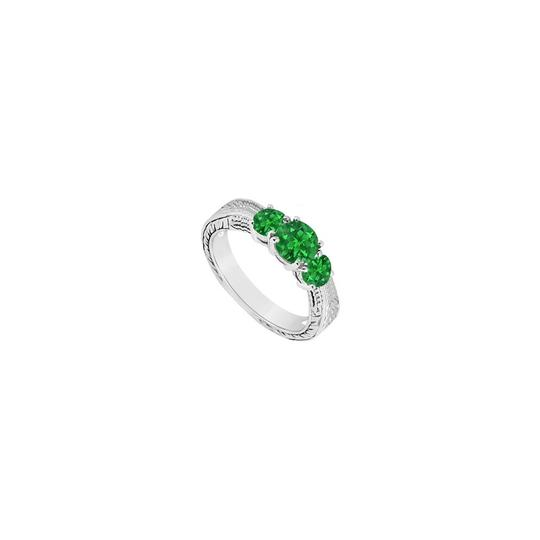 DesignerByVeronica Frosted Emerald Three Stone Ring 925 Sterling Silver 0.50 Carat Total Image 0