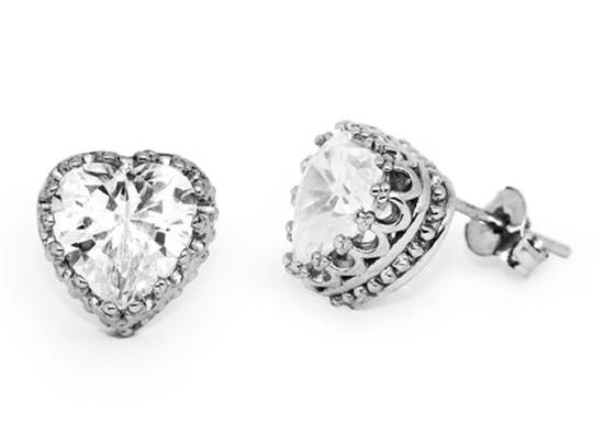 Apples of Gold CUBIC ZIRCONIA HEART EARRINGS IN STERLING SILVER Image 1