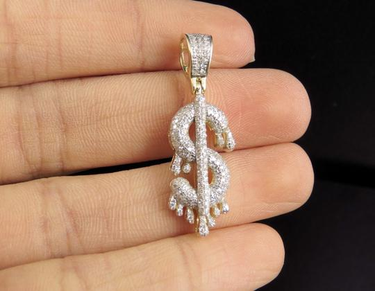 Jewelry Unlimited 10K Yellow Gold Real Diamond Drip Dollar Sign Pendant 0.50 CT 1.4