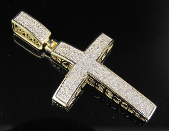Jewelry Unlimited 10K Yellow Gold Real Diamond Dome Cross Pendant 0.50 CT 1.8