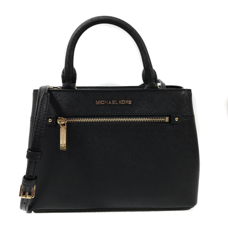 f7009227e6de ... good michael kors hailee medium satchel black leather cross body bag  262ea 801f5