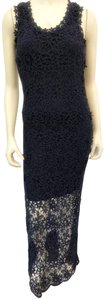 Blue Maxi Dress by Charlotte Tarantola Sleeveless Bodycon Lace Floral Scoop Neck