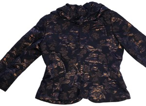 Rickie Freeman for Teri Jon dark blue with bronze flowers Blazer