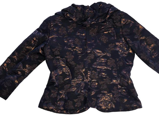 Rickie Freeman for Teri Jon dark blue with bronze flowers Blazer Image 0