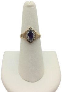 Other 10k Yellow Gold Vintage Amethyst and Diamond Ring Size 6.5