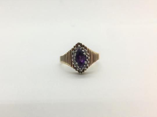 Other 10k Yellow Gold Vintage Amethyst and Diamond Ring Size 6.5 Image 2