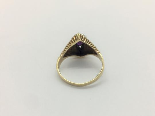 Other 10k Yellow Gold Vintage Amethyst and Diamond Ring Size 6.5 Image 4