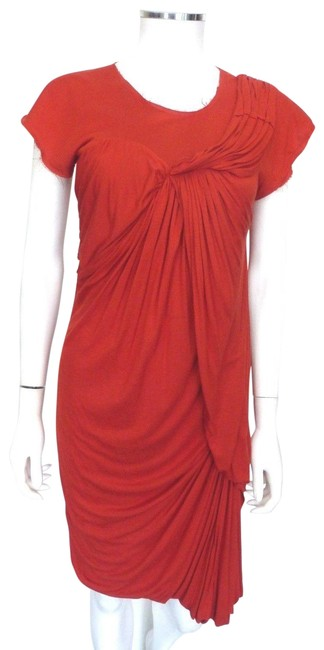 Preload https://img-static.tradesy.com/item/23691107/lanvin-burnt-red-drape-frayed-design-xs-eu-38-mid-length-cocktail-dress-size-2-xs-0-1-650-650.jpg
