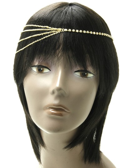 Gold Headpiece Forehead Band Tiara Hair Accessory Image 1