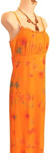 Orange Maxi Dress by California Concepts Spaghetti Straps Maxi Sheer
