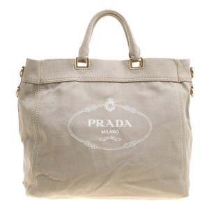 Prada Denim Logo Nylon Tote in Beige