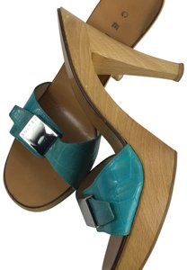 Céline Turquoise Green Mules