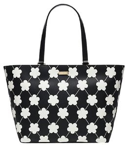 Kate Spade Jules Leather Handbag Tote in Black/Bone Festive Floral