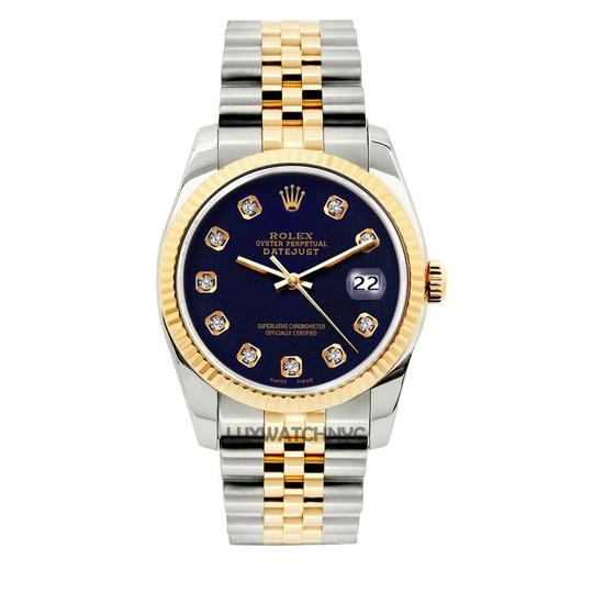 Preload https://img-static.tradesy.com/item/23691487/rolex-navy-blue-36mm-datejust-gold-stainless-steel-with-box-and-appraisal-watch-0-0-540-540.jpg
