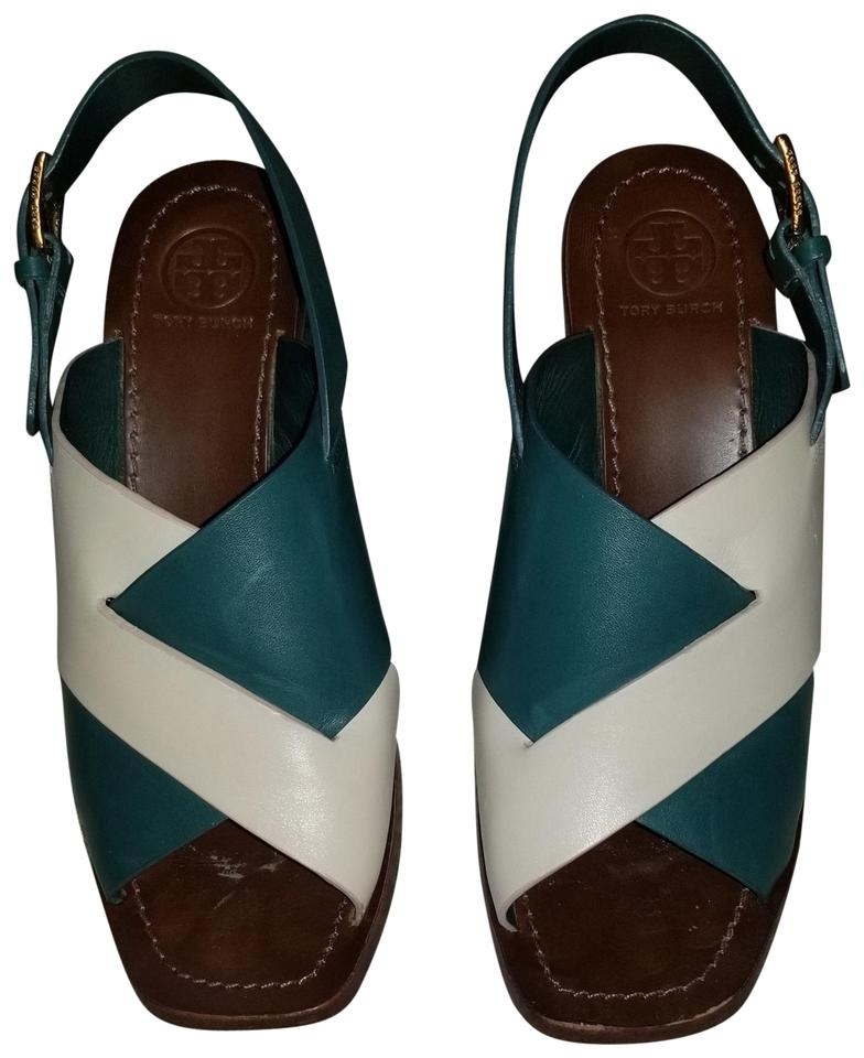 c72987c86e3 Tory Burch Teal   Ivory Bleecker Slingback Leather Sandals Size US 8 ...