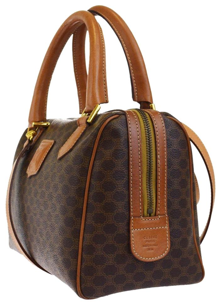 7fd953c122ed Céline Macadam Pattern 2way Shoulder Hand Pvc Leather Brown Tote ...