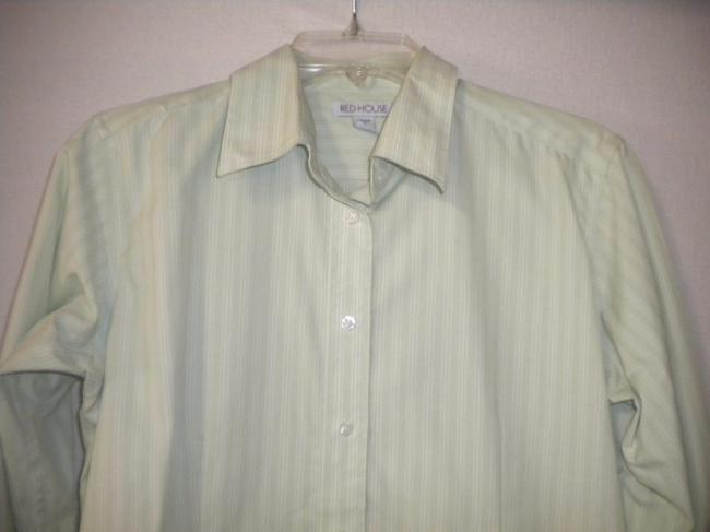 Red House Striped Non Iron Long Sleeve Button Front Career Button Down Shirt White/Lime Image 1