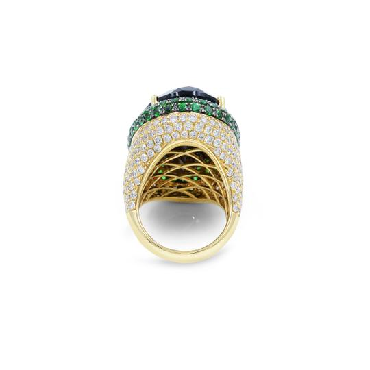 Handmade Ring with Brown Citrine and Diamonds in 18K Yellow Gold Image 6