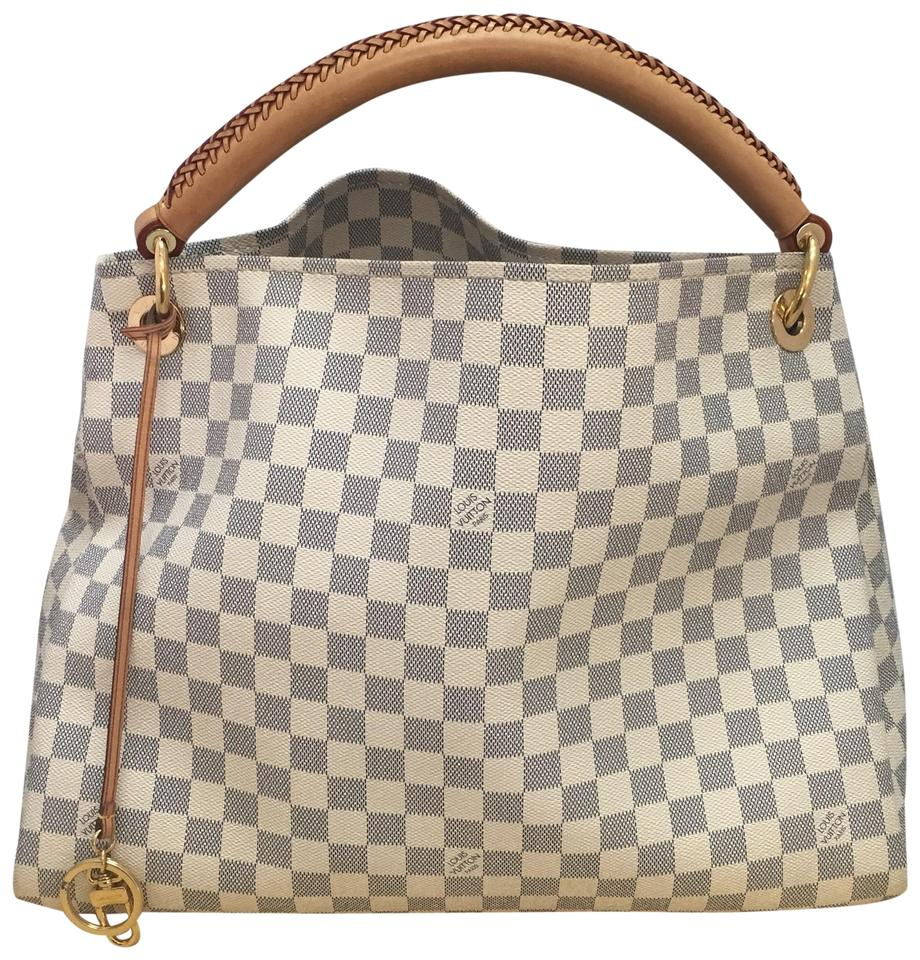 Louis Vuitton Artsy Mm With Dustbag White Damier Azur Canvas Hobo