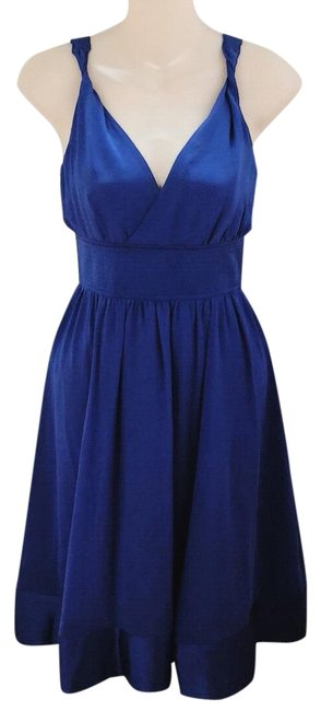 Preload https://img-static.tradesy.com/item/23691849/moulinette-soeurs-cobalt-blue-silk-twisted-neckline-mid-length-short-casual-dress-size-2-xs-0-1-650-650.jpg