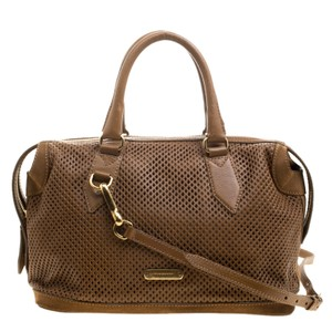Burberry Leather Canvas Satchel in Brown