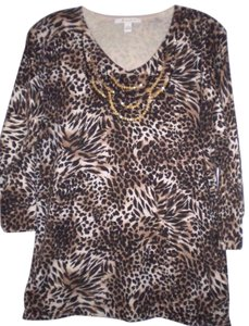 JM Collection 3/4 Sleeve Animal Print Sequin Sweater