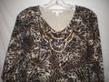 JM Collection 3/4 Sleeve Animal Print Sequin Sweater Image 1
