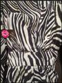Betsey Johnson Collarless V-neck Babydoll Style 3/4 Sleeve Empire Waist Zebra Print Top Multi-Color Brown Image 4