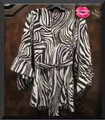 Betsey Johnson Collarless V-neck Babydoll Style 3/4 Sleeve Empire Waist Zebra Print Top Multi-Color Brown Image 5