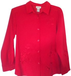 Graff Californiawear Embroidered Long Sleeve Button Front Medium Weight Button Down Shirt Red