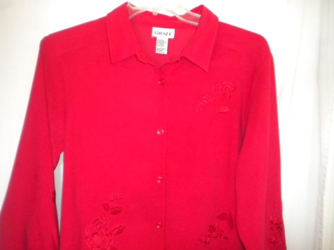 Graff Embroidered Long Sleeve Button Front Medium Weight Shirt Button Down Shirt Red Image 1