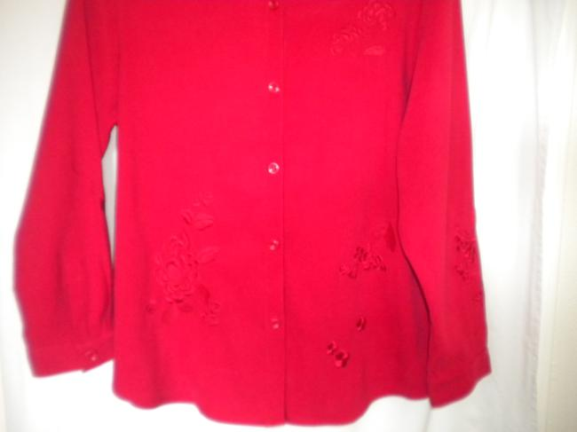 Graff Embroidered Long Sleeve Button Front Medium Weight Shirt Button Down Shirt Red Image 2