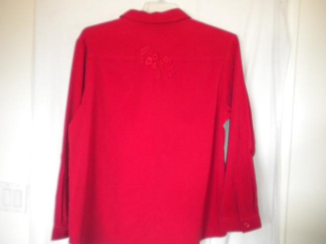 Graff Embroidered Long Sleeve Button Front Medium Weight Shirt Button Down Shirt Red Image 3