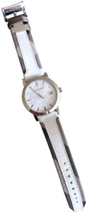 Burberry Bu9019 men's large check leather strip white dial