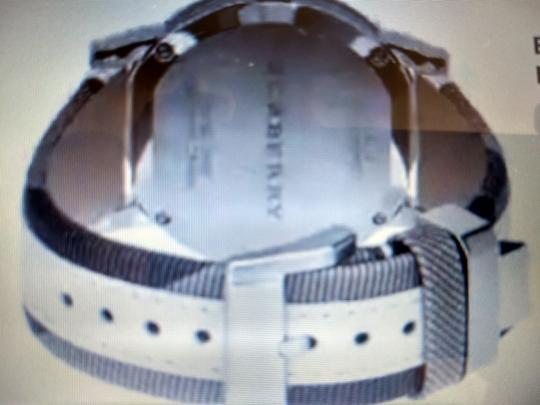 Burberry Bu9019 men's large check leather strip white dial Image 4