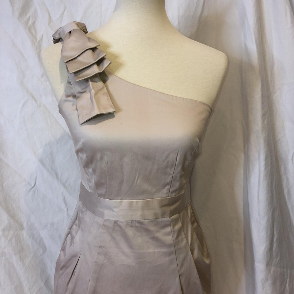 71509b67669 French Connection Cream Tan One Shoulder Wizard with Bow 2/4 Short Cocktail  Dress Size 4 (S) - Tradesy