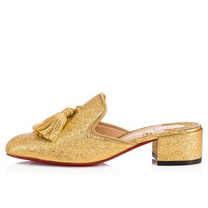 Christian Louboutin Leather Barry Slide Loafer gold Mules