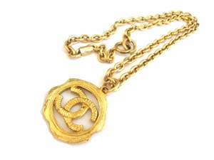 Chanel Chanel CC logos double sided pendant chain necklace