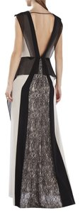 BCBGMAXAZRIA V-neck Plunging Lace Color-blocking Feminine Striking Dress