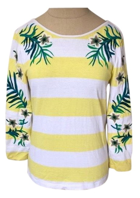 Preload https://img-static.tradesy.com/item/23692375/juicy-couture-yellow-and-white-striped-floral-stitched-low-back-euc-tee-shirt-size-4-s-0-1-650-650.jpg